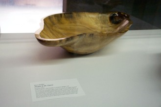 wooden bowl on display